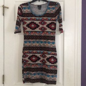 Aztec print, 3/4 sleeve fitted dress